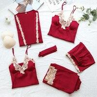 57e7816c910a59 ... piżamy bielizna nocna lato jesień zima do noszenia w domu dla kobiety.  5PCs Suit Ladies Sexy Silk Satin Pajama Set Female Lace Pyjama Set  Sleepwear ...