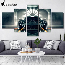 Modular Poster HD Prints Home Decor 5 Pieces Luxury Racing Car Canvas Paintings Wall Art Pictures