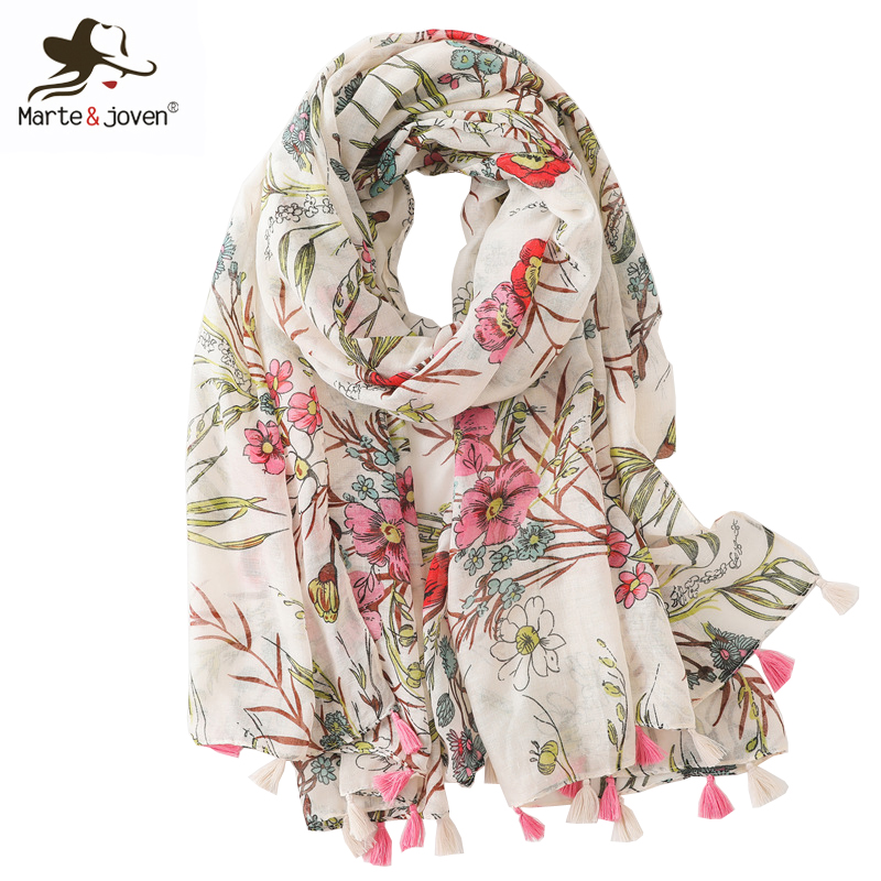 Marte&joven Colorful Art Flower Printed Tassels Scarf Spring Soft Shawl For Women Big Size Elegant Beach Scarves Pashmina Hijab