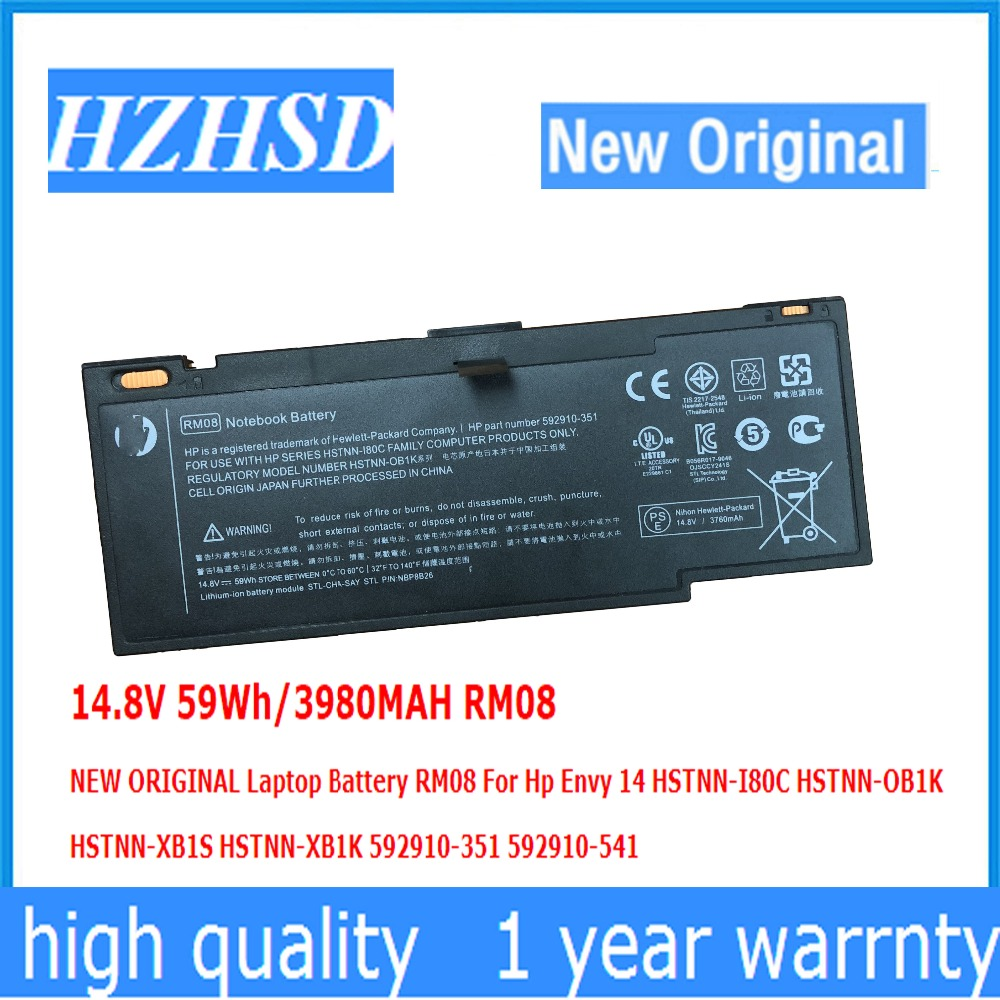 14.8 V 59Wh/3980 MAH RM08 NOUVEAU ORIGINAL batterie dordinateur portable RM08 Pour Hp Envy 14 HSTNN-I80C HSTNN-OB1K HSTNN-XB1S HSTNN-XB1K 592910-35114.8 V 59Wh/3980 MAH RM08 NOUVEAU ORIGINAL batterie dordinateur portable RM08 Pour Hp Envy 14 HSTNN-I80C HSTNN-OB1K HSTNN-XB1S HSTNN-XB1K 592910-351