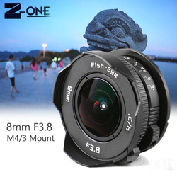 New 8mm F3.8 Fish-eye  Wide Angle Fisheye Lens Focal length Fish eye Lens Suit For M4/3 Micro Four Thirds Mount Camera
