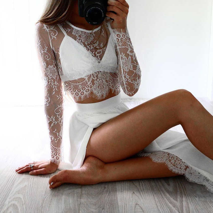 1632352d979 ... Sexy Women Sheer Floral Lace Blouse O-Neck Long Sleeve Mesh Lace Crop  Top 2018 ...