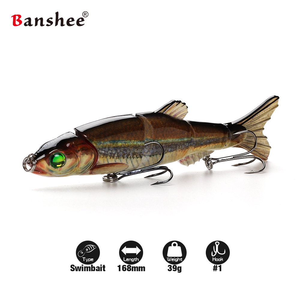 Banshee 168mm 38g VMJM05-6.5 Hard Artificial Bait pike Walleye bass Fishing Lure Sinking 5 sections Mulit Jointed Swimbait banshee 127mm 21g nexus voodoo atj01 swimbait two sction multi jointed topwater walk dog stickbait floating pencil