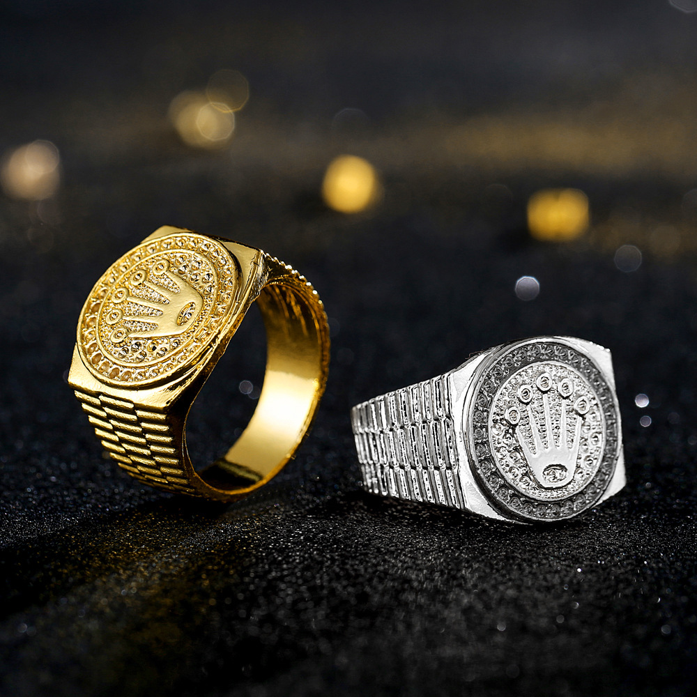 Jewelry Fashion Hip hop rock Crown Ring For Men and Women Gold Ring Jewelry in Rings from Jewelry Accessories
