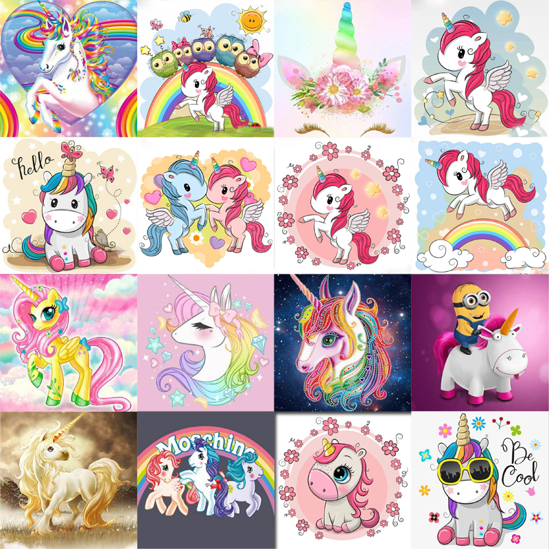 New 5d Diy Diamond Painting Unicorn Diamond Embroidery Cartoon Pony Child's Diamond Mosaic Sale Full Round Drill By Number(China)