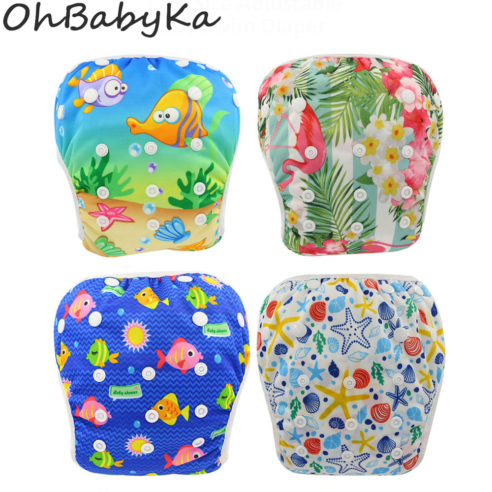 Ohbabyka Waterproof Swim Diapers Pool Pants Unisex Adjustable Baby Swim Diaper Pant One Size Breathable Cover Suit for 3-15KG