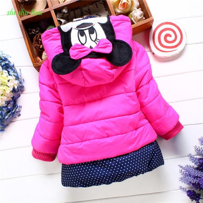 Ropa de bebé niña invierno niños de manga larga con capucha abrigo de algodón chaqueta Minnie 2-4 años ropa de niña engrosamiento