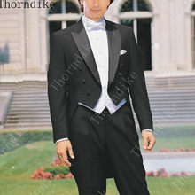 Custom Made to Measure Size Tailcoat,Bespoke Black Groom Tuxedos Satin Peaked Lapel, White Vest, Tailored men's Long Tuxedo(China)