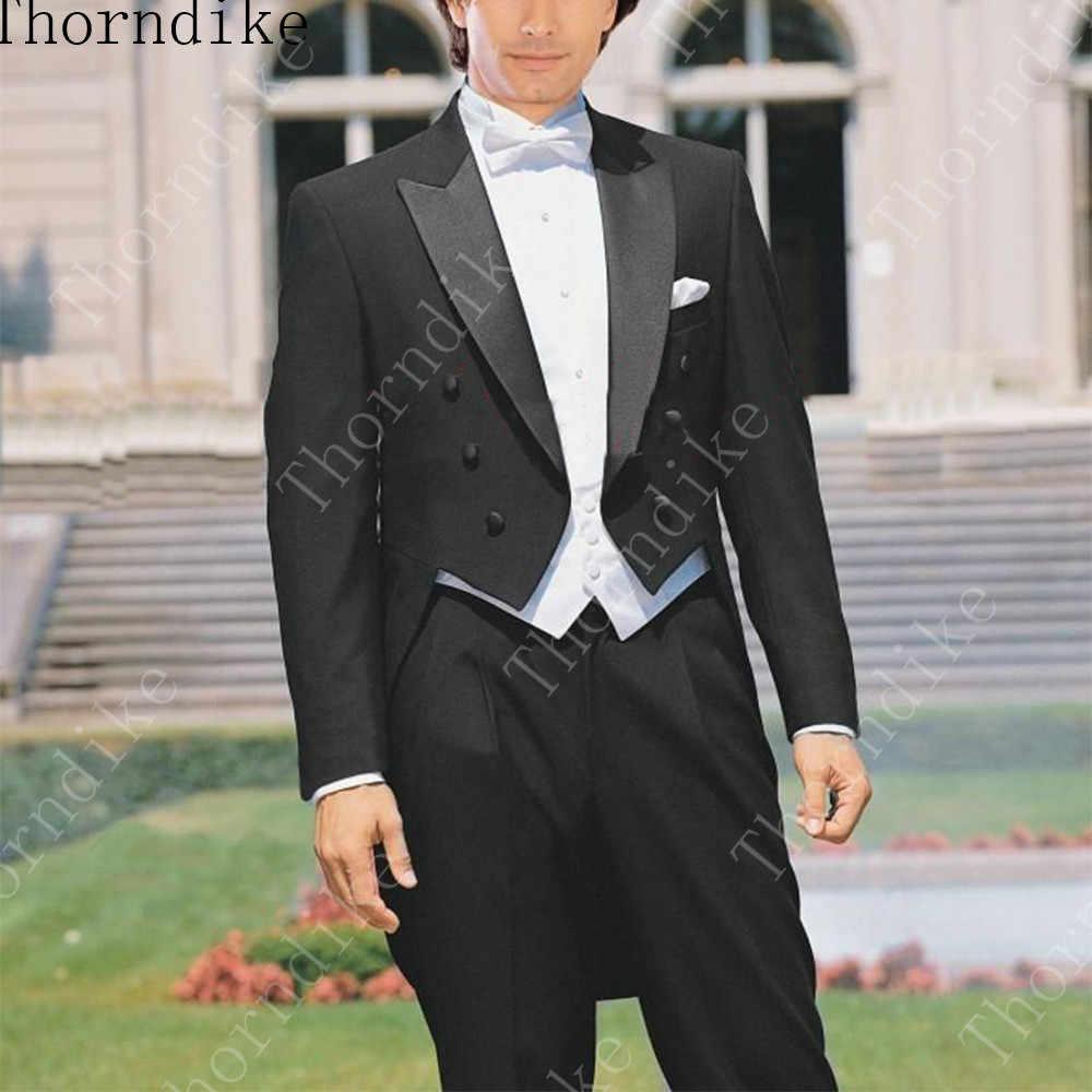 Custom Made to Measure Size Tailcoat,Bespoke Black Groom Tuxedos Satin Peaked Lapel, White Vest, Tailored men's Long Tuxedo