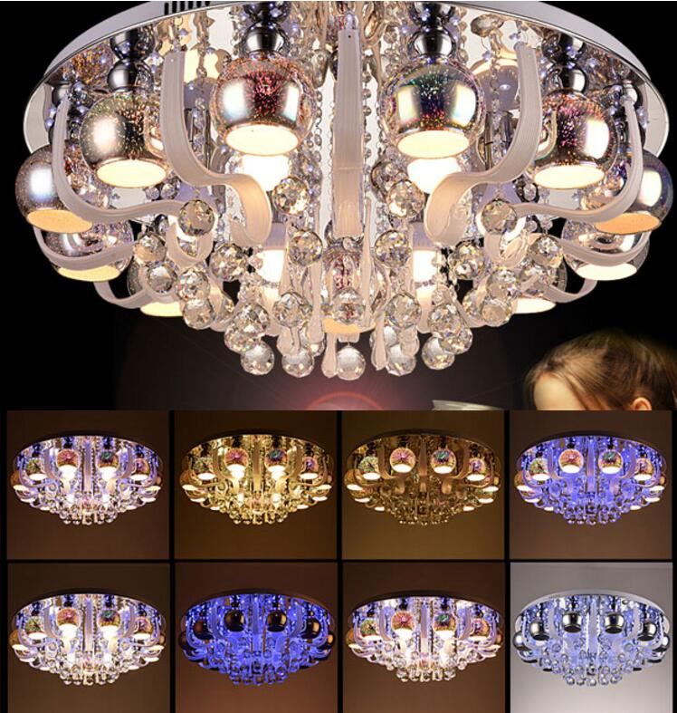 Living room lights round crystal lamp ceiling lamp led modern simple bedroom lights restaurant lighting color atmosphere lamps 20 colors fall and winter europe and the united states men and women s bad hair day embroidery beanie kintted wool hat hiphop