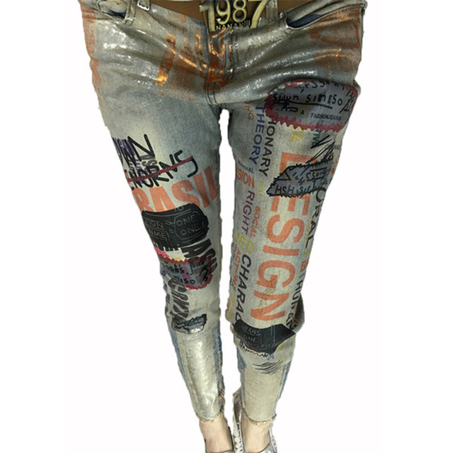 6a9d1120c271 US $39.99 |Casual Painted Skinny Pencil Stretch Jeans Femme Capri Jeans For  Women 2017 Slim Pencil Pants Plus Size -in Jeans from Women's Clothing on  ...