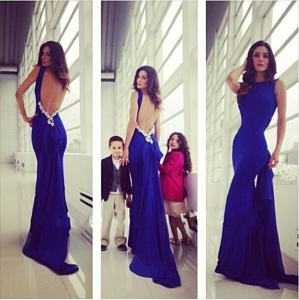 Free Shipping 2019 New Vesitdos Fista Royal Blue Crytsal Beading Backless Long Formal Prom Gowns Mother Of The Bride Dresses