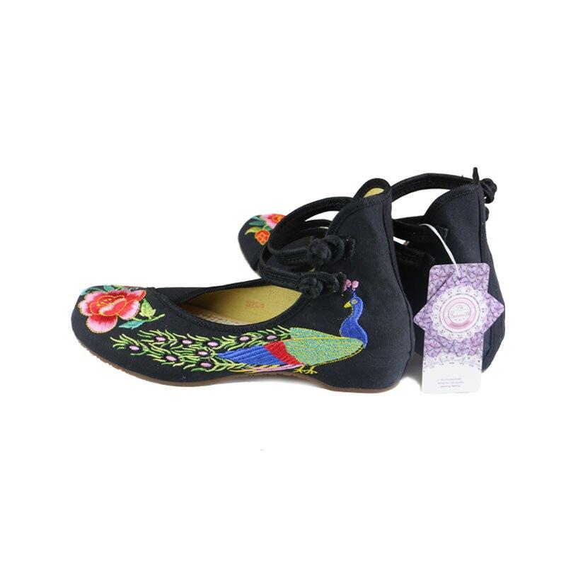 paon broderie chaussures de sport Noir tuOyc