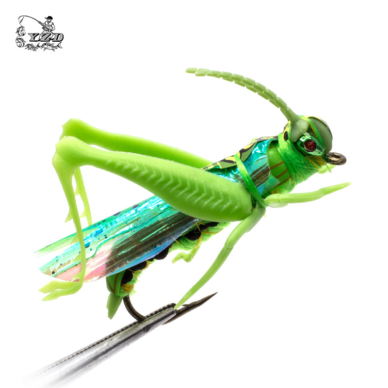 Grasshopper Cricket Dry Fly Fishing Fluer Set 4PCS kit Fluer Tynger Materiale Lure Fiskegrej Bait For Geddekarpe Flyfishing