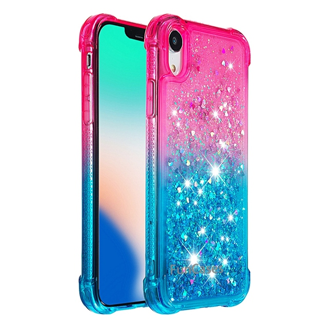 Para o iphone xr líquido duro pc claro escudo do telefone para iphone xr casos de areia movediça capa cute app ícone capa para iphone xr capa 4