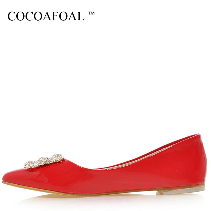 COCOAFOAL Woman Cheap Crystal Flats Casual Fashion Plus Size 32 - 49 Pointed Toe Platform Shoes Black Red Patent Leather Flats plue size 34 49 spring summer high quality flats women shoes patent leather girls pointed toe fashion casual shoes woman flats