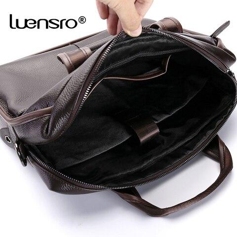 LUENSRO Fashion Men Briefcase Genuine Leather Handbag Male 14 inch Laptop Bag Real Leather Bussiness Shoulder Bag For Men 2018 Multan