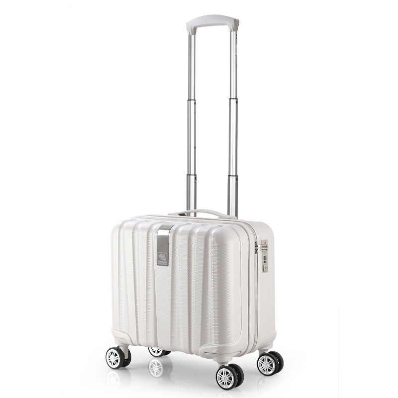 Оптовая продажа! 16 дюйм(ов) белый жесткий чехол ПК дорожный Багаж, сумки на универсальная колеса для женщин, синий Hardside тележки для багажа дл...