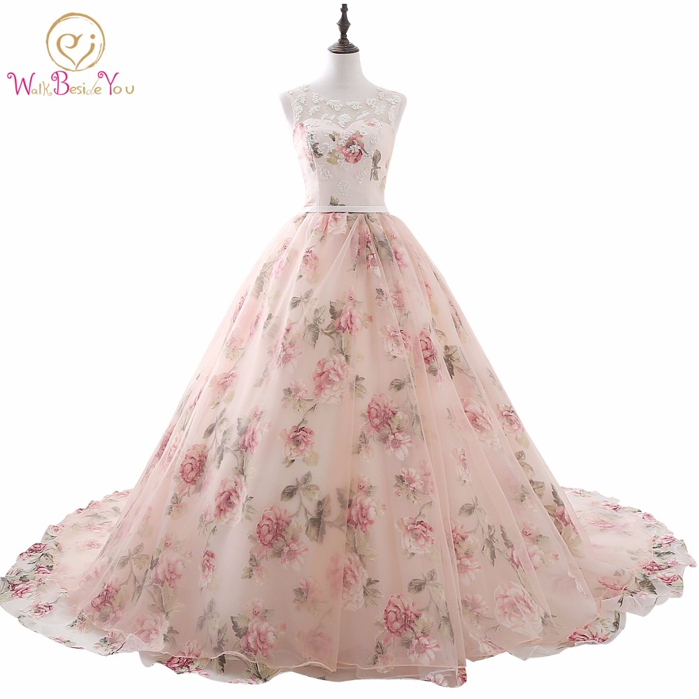 vestido de noche 2018 Pink Lace Applique Beaded Scoop Prom Dresses Princess Ball Gown Long Party Print Evening Dress Women Stock