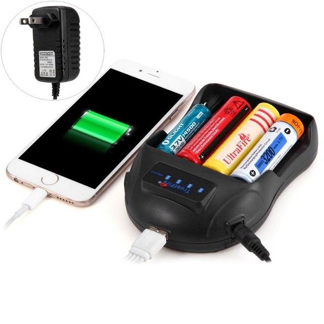 Alta qualidade TrustFire TR-009 carregador de bateria inteligente Power Bank com quatro Slots porta USB preto da ue adaptador eua vendas quentes