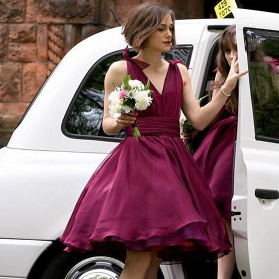 High quality party wedding dresses buy cheap party wedding dresses order 1 piece unique short burgundy bridesmaid dresses v neck ball gown bridesmaid dress women bridesmaid gown tulle wedding ombrellifo Gallery