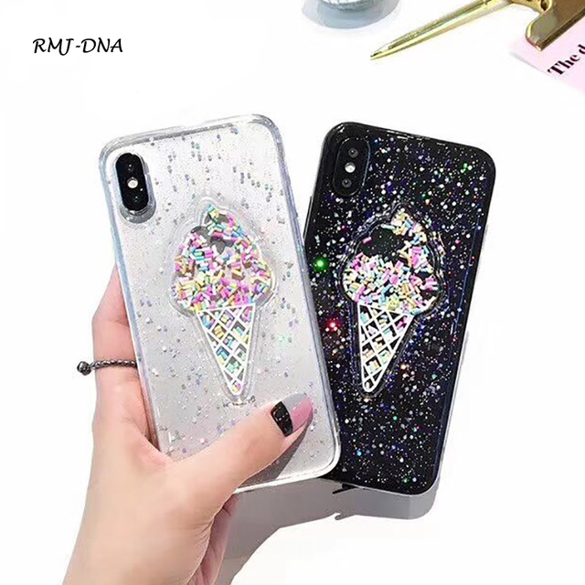 c4ff561f13f34b 3D ice cream glitter Phone Cases For iphone X Rainbow sequins tpu for iphone  7 8