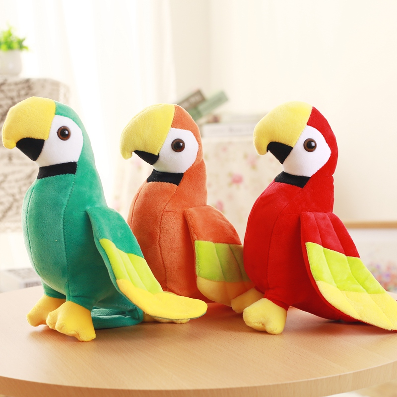 20CM Cartoon Parrot Toys Stuffed Animal Plush Rio Macaw Parrots High Quality Plush Toy Parrots Doll Good Gifts for Kids veowalk winter warm fur women short ankle boots cotton embroidered ladies casual canvas 5cm heels wedge platform booties shoes