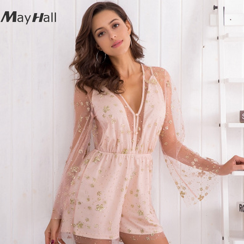 MayHall Spring Sexy 2020 Lace up Bodysuit Womens Deep V-neck Long Sleeve Playsuits Ladies Elegant Lace Hollow Out Bodysuit MH016