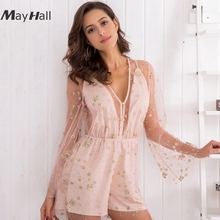 цена MayHall Spring Sexy 2018 Lace up Bodysuit Womens Deep V-neck Long Sleeve Playsuits Ladies Elegant Lace Hollow Out Bodysuit MH016