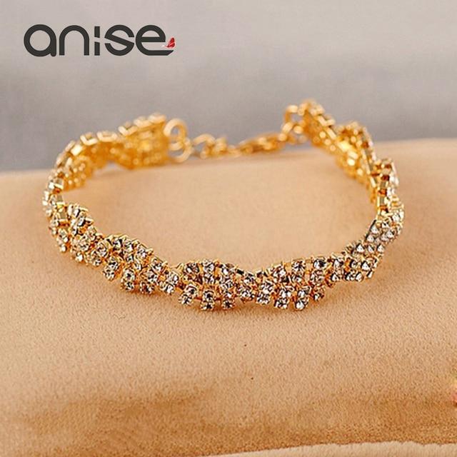 b5a365f65eae Anís elegante Color oro y plata Pulsera de diamantes de imitación pulsera  brazalete para las mujeres