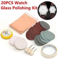 20 stks/set Horloge Glas Polijsten Kit Glas Schoonmaken Krassen Verwijderen Polijsten Pad En Wiel 50mm Steunschijf Duurzame Kwaliteit
