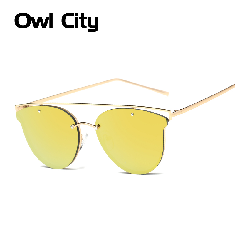 Sunglasses Women Cat Eye Vintage Coating Lens Brand Designer Alloy Hollow Frame Sun Glasses UV400 Female Eyewear