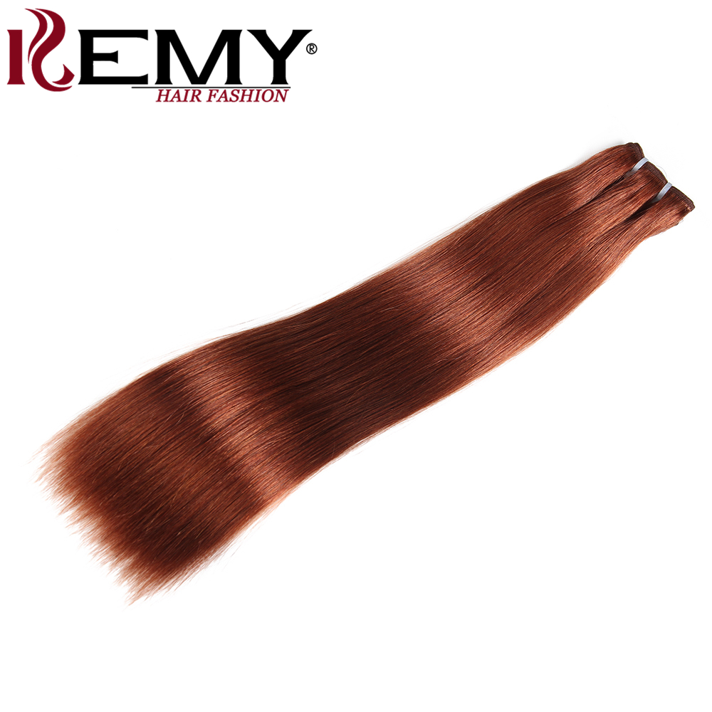 KEMY HAIR Pre-Colored Brazilian Hair Weave Bundles Medium Brown 33# 1 piece 8-22 Inch Remy Yaki Straight Human Hair Extensions