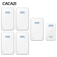 CACAZI Smart Wireless Waterproof LED Doorbell Household Battery Button Call Bell 300M Remote 48 Rings 6 Volume Receiver EU Plug