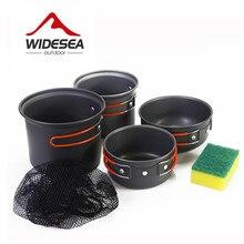 WIDESEA cookset 2-3 persona al aire libre Ollas antiadherentes Sartenes Cuencos Set de Cocina Utensilios de Cocina Portátil Para Acampar Al Aire Libre Senderismo con una esponja