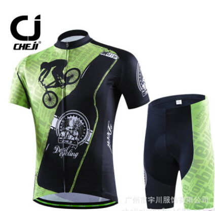 ФОТО 2017 CHEJI Summer Green Bike Bicycle Cycling Jerseys Shorts Set Suit Quick-Dry