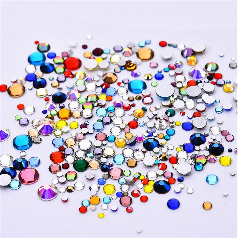 High Quality Mix Colors Mix Sizes Crystal Glass Non Hotfix Flatback Nail Rhinestones For DIY Nails 3D Nail Art Decorations Gems ss6 crystal light rose nail rhinestones 1440pcs lot flat back non hotfix glitter nail stones diy 3d nail phones decorations