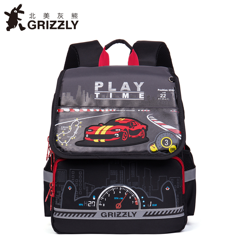 GRIZZLY Kids Cartoon Bags Children Zipper Schoolbags for Boys Orthopedic Waterproof Backpacks Primary School Bags for