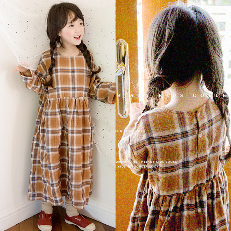 Brand Baby Girl Dress 2018 New Autumn Children Cotton Dress Kids Toddler Long Style Dress Kid Plaid Dress Teenage Clothes,#3483 scallop plaid cami dress