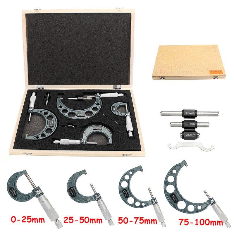4 pz Al di Fuori Micrometro Set Machinist Strumento 0-4