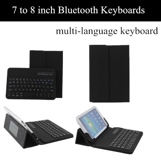 Russian Removable Wireless Bluetooth Keyboard Leather Case For 7 To 8 inch Mini Pad keyboard Case For iOS Android Windows
