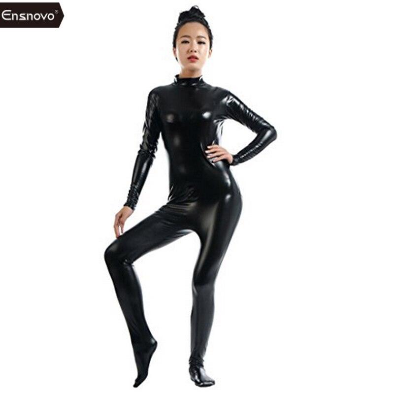 Ensnovo Women Lycra Nylon Latex Shiny Metallic Zentai Suit One Piece Turtleneck Unitard Black Catsuit Bodysuit Cosplay Costume