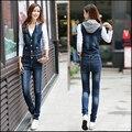 2016 designer women bodycon washed denim jumpsuit romper plus size casual jeans denim vest bib pants overalls Suspender Trousers