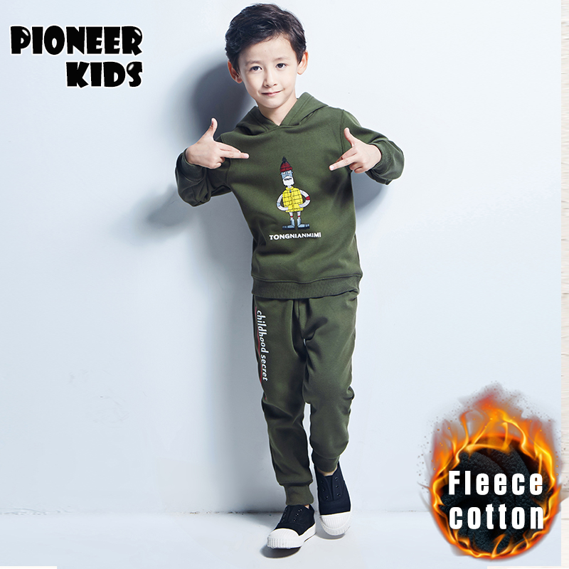 Pioneer Kids 2016 New Chidren Kids Boys Clothing Set Autumn Winter 2 Piece Sets Hooded Coat Suits Fall Cotton Big Boys Clothe