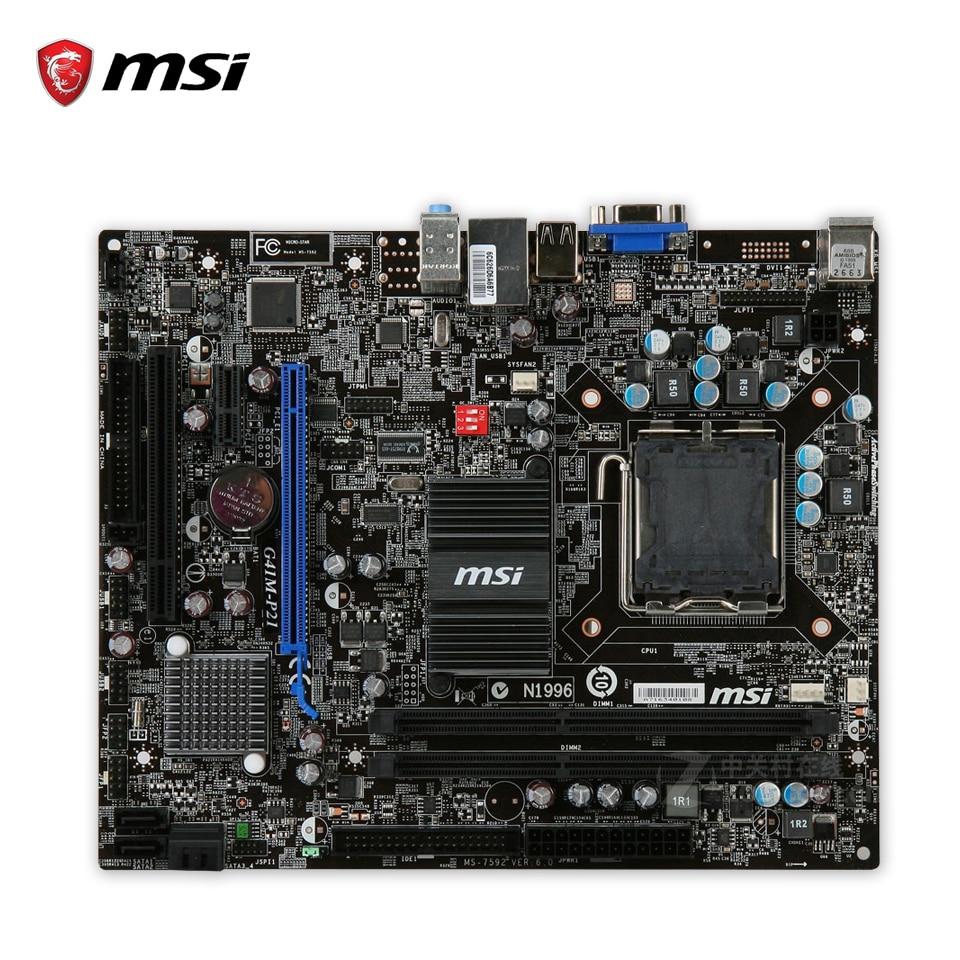 MSI G41M-P21 Original Used Desktop Motherboard G41 Socket LGA 775 DDR3 8G SATA2 USB2.0 Micro-ATX msi g41m p43 combo original used desktop motherboard g41 socket lga 775 ddr3 8g sata2 usb2 0 micro atx