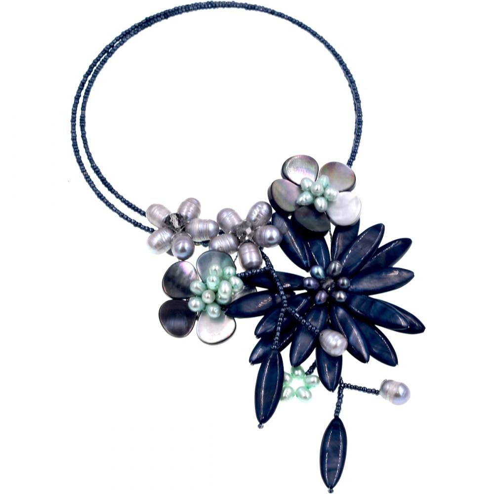 2017 Lady Women Black Sea Shell Black Pearls Hematite Czech seed bead wrap chokers necklace Fashion Women Jewelry Gift все цены