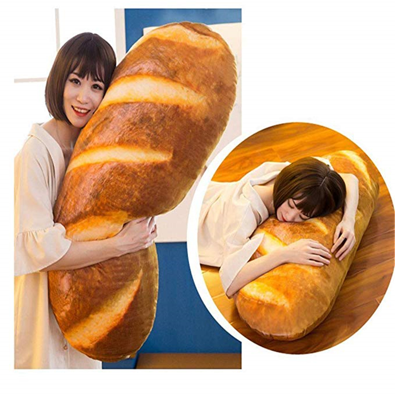 Funny 3D Simulation Snack Bread Shape Pillow Soft Lumbar Cushion Plush Stuffed Toy Oblong Pillow Unique Gift For Friends