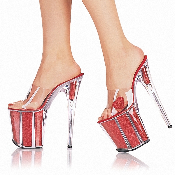 Fashion Ultrafine 20cm High-Heeled Shoes Crystal Shoes 8 Inch Platform Core Sexy Stripper Shoes Open Toe RED Princess Shoes 20cm high heeled shoes sexy shoes full transparent crystal bag sandals performance shoes 8 inch high heeled shoes