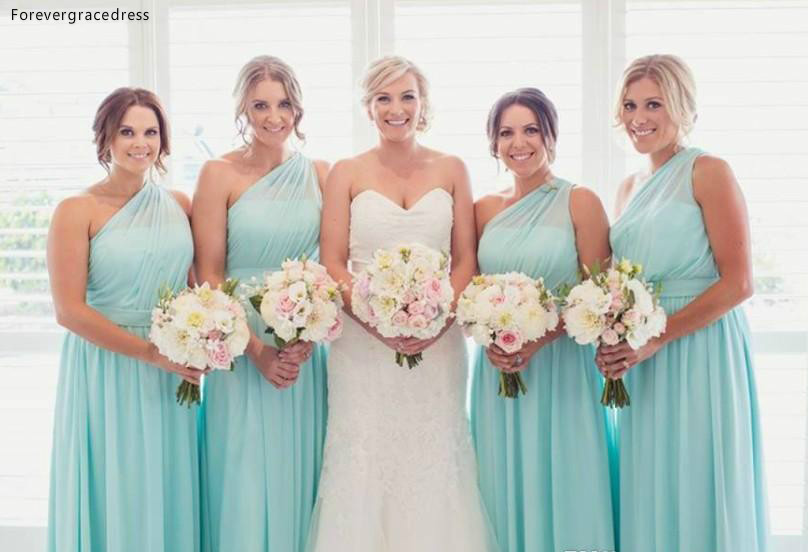 Cheap Mint Green   Bridesmaid     Dresses   2019 Summer Country Garden Wedding Party Guest Maid of Honor Gowns Plus Size Custom Made