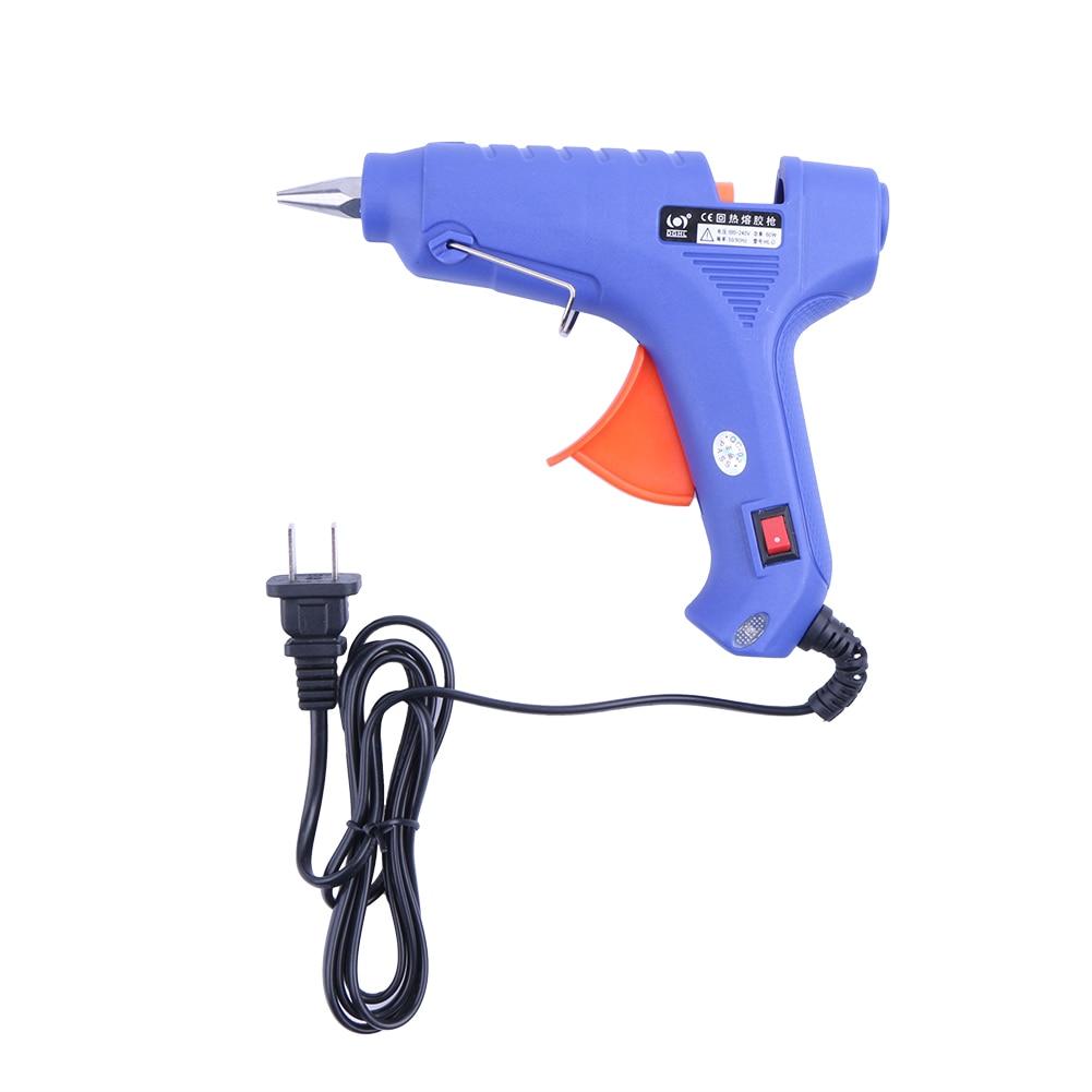 60W Hot Melt Air Glue Gun High Temp Heater Mini Gun Repair Heat tool W/ 10pcs Glue Sticks 1pc Stand for Metal/Wood Working